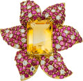Estate Jewelry:Brooches - Pins, Citrine, Diamond, Ruby, Gold Clip-Brooch. ...
