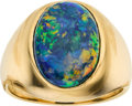 Estate Jewelry:Rings, Gentleman's Black Opal, Gold Ring. ...