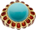 Estate Jewelry:Rings, Turquoise, Enamel, Gold Ring, David Webb. ...