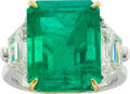Estate Jewelry:Rings, Emerald, Diamond, Gold, Platinum Ring. ...