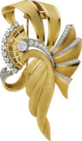 Estate Jewelry:Brooches - Pins, Diamond, Gold Clip-Brooch, Naomi. ...