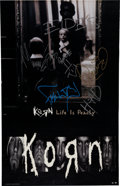 Music Memorabilia:Autographs and Signed Items, Korn Band-Signed Record Store Promotional Poster for Life isPeachy (Immortal, 1996). ...