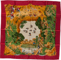 "Luxury Accessories:Accessories, Hermes Red, Orange & Green ""Africa"" by Robert Dallet SilkScarf. ..."