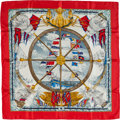 "Luxury Accessories:Accessories, Hermes Red, Blue & Gold ""Vive le Vent,"" by Laurence ThiouneSilk Scarf. ..."