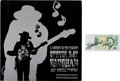 Music Memorabilia:Autographs and Signed Items, Stevie Ray Vaughan Signed British One Pound Note with Rare CanadianPromo LP A Legend in the Making (Epic CDN-115,... (Total: 2Items)