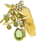 Estate Jewelry:Brooches - Pins, Peridot, Diamond, Gold Brooch, Joniye . ...