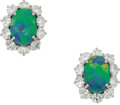 Estate Jewelry:Earrings, Black Opal, Diamond, Platinum Earrings, Oscar Heyman Bros.. ...