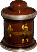 "Golf Collectibles:Ceramics/Glass, 1911 Royal Doulton ""Burhill Golfers Club Meeting"" Tobacco JarHumidor...."
