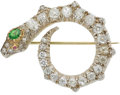 Estate Jewelry:Brooches - Pins, Antique Diamond, Demantoid Garnet, Ruby, Silver-Topped Gold Brooch. ...