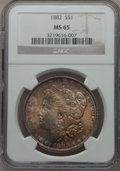 Morgan Dollars: , 1882 $1 MS65 NGC. NGC Census: (1167/247). PCGS Population(1261/212). Mintage: 11,101,100. Numismedia Wsl. Price forproble...
