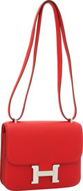Luxury Accessories:Bags, Hermes 18cm Rouge Vif Swift Leather Double Gusset Constance Bag with Palladium Hardware. ...
