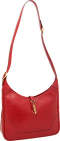 Luxury Accessories:Bags, Hermes 31 Rouge Vif Calf Box Leather Trim II Bag with GoldHardware. ...