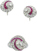 Estate Jewelry:Suites, Art Deco Diamond, Ruby, Platinum Jewelry Suite, C.D. Peacock. ...