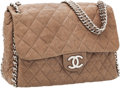 Luxury Accessories:Bags, Chanel Light Brown Antiqued Leather Chain Around Shoulder Bag withSilver Hardware. ...