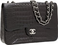Luxury Accessories:Bags, Chanel Shiny Black Crocodile Jumbo Single Flap Bag with Silver Hardware. ...