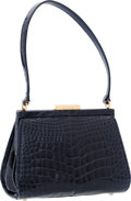 Art Glass:Daum, Gucci Shiny Midnight Blue Crocodile Small Frame Bag. ...
