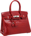Luxury Accessories:Bags, Hermes 30cm Shiny Rouge H Nilo Crocodile Birkin Bag with PalladiumHardware. ...