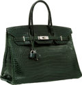 Luxury Accessories:Bags, Hermes 35cm Shiny Vert Fonce Porosus Crocodile Birkin Bag withPalladium Hardware. ...