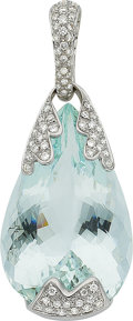Estate Jewelry:Pendants and Lockets, Aquamarine, Diamond, White Gold Enhancer, Utopia. ...