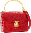 Luxury Accessories:Bags, Lana Marks Shiny Red Crocodile Structured Bag with Gold Chain TopHandle & Shoulder Strap. ...