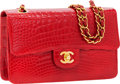 Luxury Accessories:Bags, Chanel Shiny Red Crocodile Classic Rigid Medium Single Flap Bagwith Gold Hardware. ...