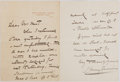 "Autographs:Artists, Harry Furniss (1854-1925), British Artist and Illustrator.Autograph Letter to Illustrator Thomas Nast Signed ""HarryFurni..."