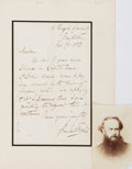 """Autographs:Celebrities, Myles Birket Foster (1825-1899), English Illustrator and Artist. Autograph Letter Signed """"Birket Foster"""". One page, 4.25..."""