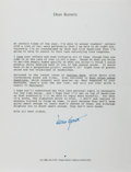 """Autographs:Authors, Dean Koontz, American Author. Typed Letter Signed """"DeanKoontz"""". One page, 8.5"""" x 11"""", on his personal letterhead,Newpo..."""