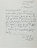 """Autographs:Authors, Etheridge Knight (1931-1991), African-American Poet. Autograph Letter Signed """"Etheridge Knight"""". One page, Memphis, Marc..."""