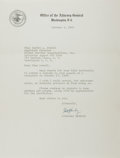"""Autographs:Statesmen, Robert F. Kennedy (1925-1968). Typed Letter Signed as AttorneyGeneral """"Robert F. Kennedy"""". One page, 8"""" x 10.5"""", on Off..."""