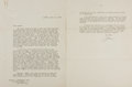 """Autographs:Statesmen, Joseph P. Kennedy, Sr. (1888-1969). Typed Letter Signed asAmbassador to the United Kingdom """"Joe"""". Two pages, 8"""" x10.5""""..."""