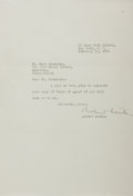 "Autographs:Authors, Robert Nathan (1894-1985), American Novelist. Typed Letter Signed""Robert Nathan"". One page, 7.25"" x 10.5"", New York, Fe..."