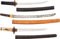 Edged Weapons:Other Edged Weapons, Lot of Three Japanese Wakizashi.... (Total: 3 )