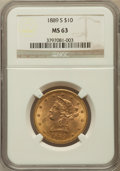 Liberty Eagles: , 1889-S $10 MS63 NGC. NGC Census: (86/8). PCGS Population (235/21).Mintage: 425,400. Numismedia Wsl. Price for problem free...