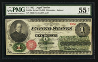 Fr. 16c $1 1862 Legal Tender PMG About Uncirculated 55 Net