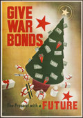 "Movie Posters:War, World War II Lot (U.S. Government Printing Office, 1943). Poster(28.5"" X 40"") & War Bond Holder (5"" X 9"") ""Give War Bonds.....(Total: 2 Items)"