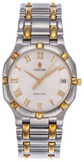 Estate Jewelry:Watches, Concord Gentleman's Gold, Stainless Steel Saratoga Wristwatch. ...