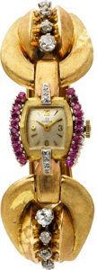 Estate Jewelry:Watches, Retro Omega Lady's Diamond, Ruby, Gold Wristwatch. ...
