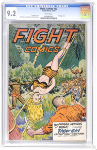 Fight Comics #52 (Fiction House, 1947) CGC NM- 9.2 White pages. Jack Doolin bondage cover. Art by Matt Baker, Jack Kamen...
