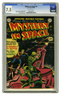 Golden Age (1938-1955):Science Fiction, Mystery in Space #3 (DC, 1951) CGC VF- 7.5 Off-white pages. Asignature cover for this long-running title is this early crea...