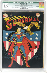"Superman #14 (DC, 1942) CGC Qualified VG- 3.5 Cream to off-white pages. Classic patriotic ""shield"" cover by Fr..."