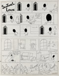 Original Comic Art:Comic Strip Art, Otto Soglow - The Little King Sunday Comic Strip with Sentinel Louie Topper Original Art, dated 2-09-36 (King Features Syndica...
