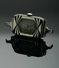 Timepieces:Wristwatch, A LADY'S WATCH CASE. Elgin. The rectangle case with Arabic numerals, with black and silver Art Deco design to face . .75in...
