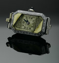 Timepieces:Wristwatch, A LADY'S AMERICAN GOLD WRIST WATCH CASE. Benrus Watch Co.. The lady's 14k gold timepiece with silver octagonal case, Arabi...
