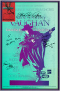 Music Memorabilia:Autographs and Signed Items, Stevie Ray Vaughan and Others Signed Concert Poster and Signed Backstage Pass (Austin, 1990). ...