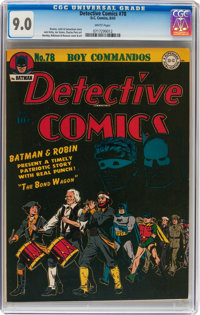 Detective Comics #78 (DC, 1943) CGC VF/NM 9.0 White pages