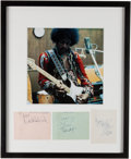 Music Memorabilia:Autographs and Signed Items, Jimi Hendrix Experience Signatures in Framed Display (1967). ...(Total: 3 Items)
