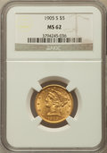 Liberty Half Eagles: , 1905-S $5 MS62 NGC. NGC Census: (63/26). PCGS Population (63/61).Mintage: 880,700. Numismedia Wsl. Price for problem free ...