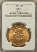 Liberty Double Eagles: , 1895 $20 MS63 NGC. NGC Census: (3342/512). PCGS Population(1718/249). Mintage: 1,114,656. Numismedia Wsl. Price for proble...