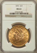 Liberty Double Eagles: , 1895 $20 MS63 NGC. NGC Census: (3350/514). PCGS Population(1721/249). Mintage: 1,114,656. Numismedia Wsl. Price for proble...